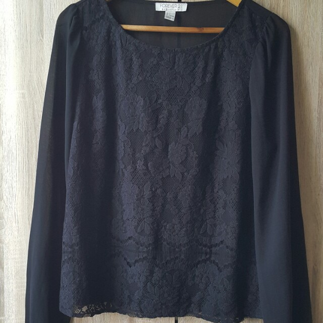 Forever 21 Lace Sheer Long Sleeves