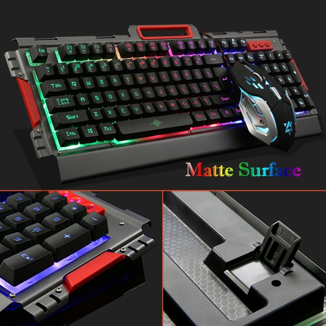 d31a538d45c Gaming Keyboard and Mouse Combo Mechanical-feeling Rainbow LED ...