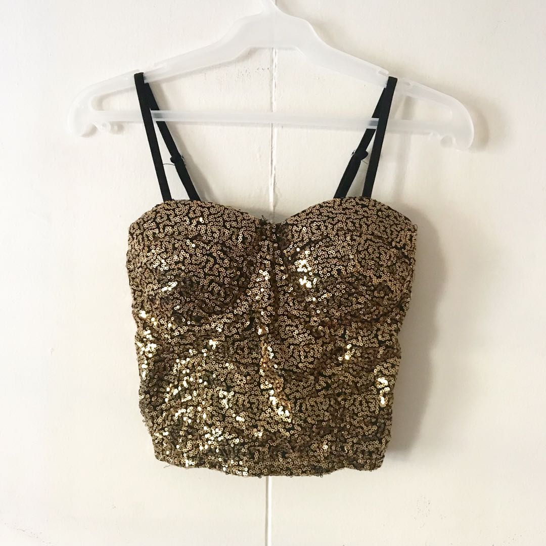 Gold Sequined Corset Top