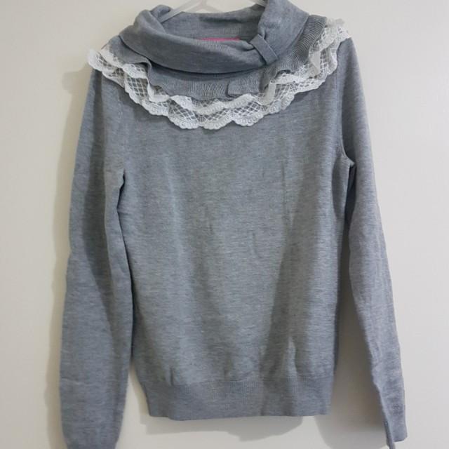 Grey Knitwear with Ruffle