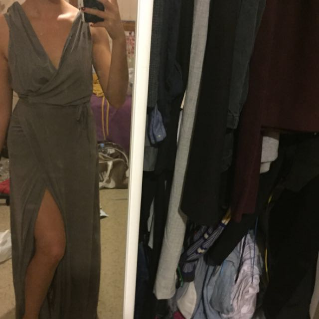 Grey maxi wrap around multiway tie up dress with side split and low back