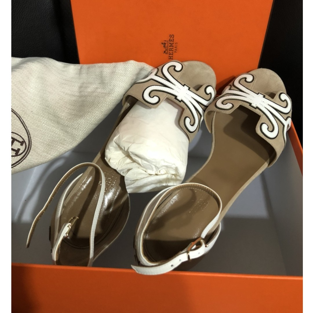 HERMES oran ankle heeled sandals (size 37 1/2)