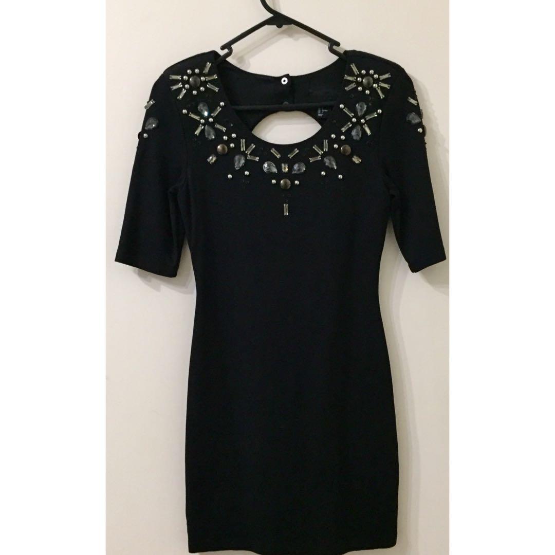 H&M Black Jewelled Open Back Dress