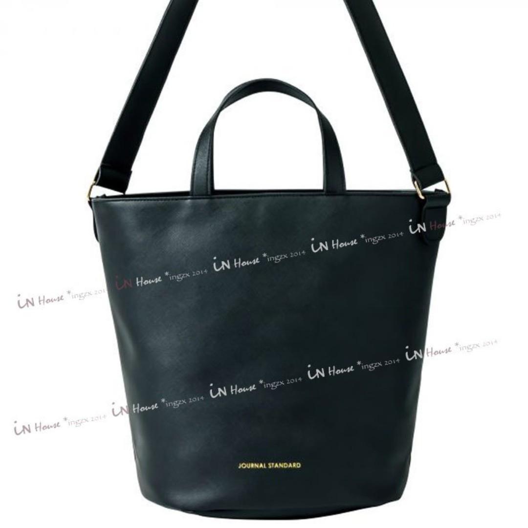 日本雜誌InRed附錄JOURNAL STAND皮革肩背包側背包手提包圓筒包水桶包-兩用