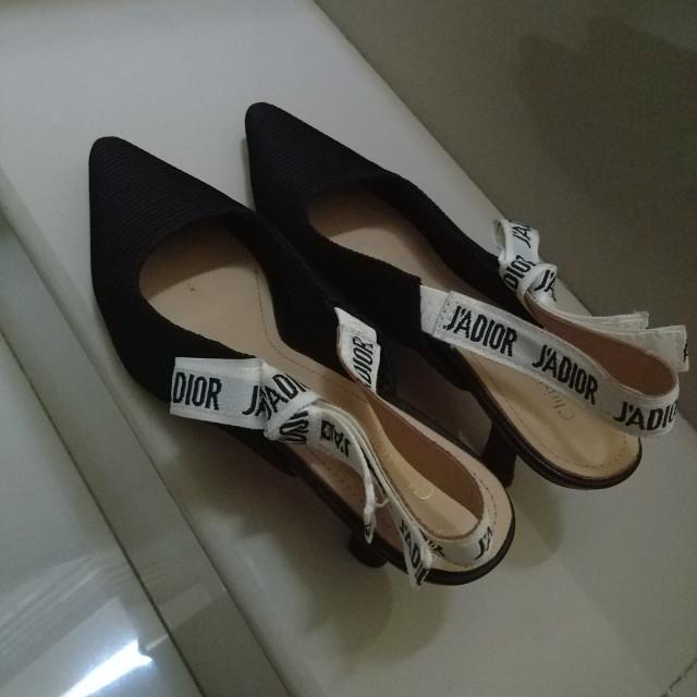 J' dior bow shoes kitten heels