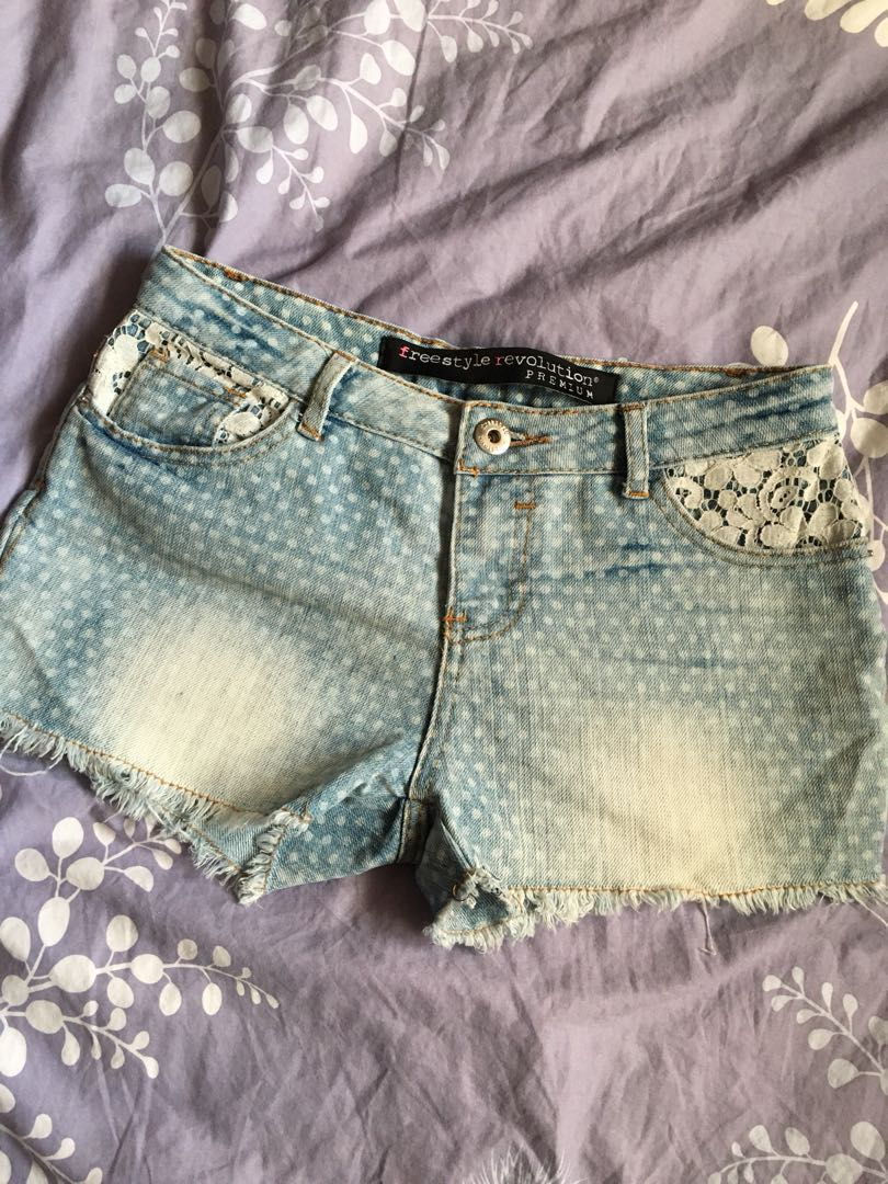 Light Blue Lace Jean Shorts