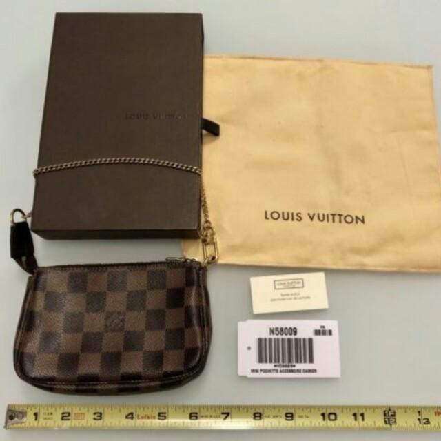 102ccb021df1 Louis Vuitton Damier Ebene Canvas Mini Pochette Purse Bag