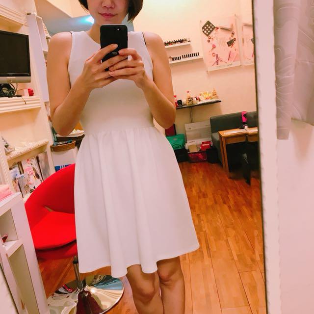 全新白色背心洋裝M