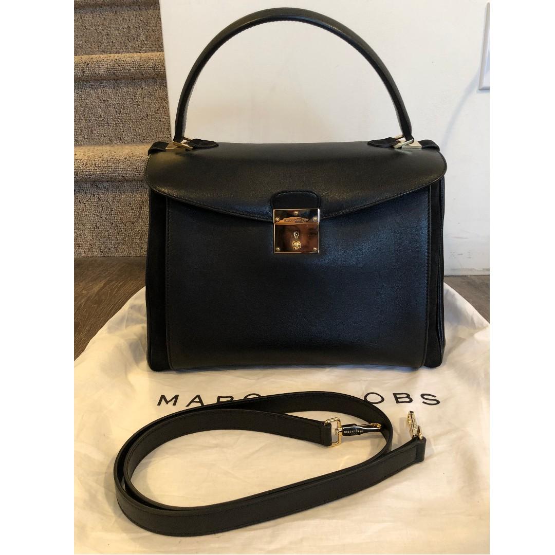 Marc Jacobs Metropolitan Leather Handle Shoulder Satchel Bag Black