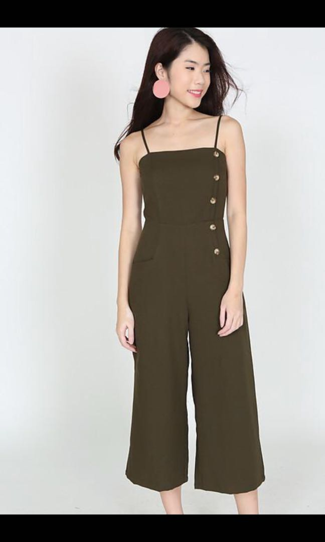 51e92d189ea9 MDS Buttoned Cami Jumpsuit in Green
