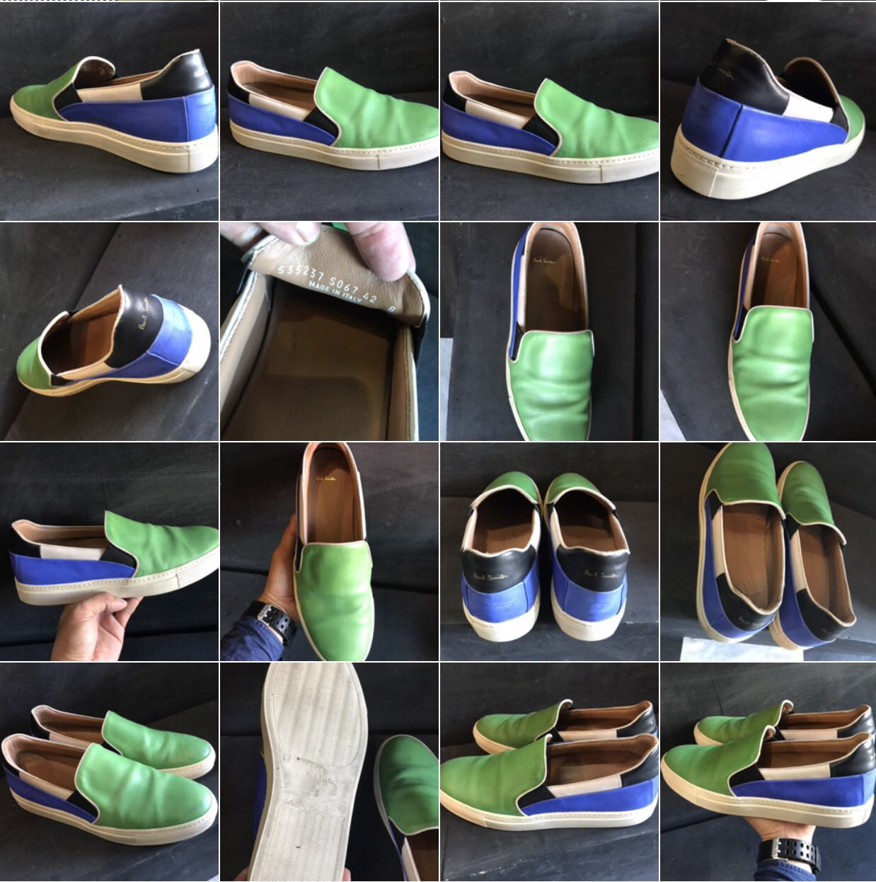 Men's Green And Blue Calf Leather 'zorn' Slip-on Sneakers - Green -. Paul Smith