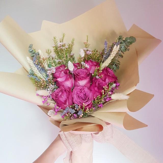 Mix Fresh & Dried Flower Bouquet, Design & Craft, Handmade Craft on ...