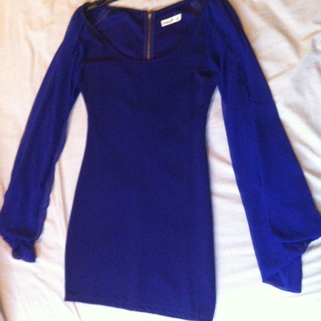 Navy Blue Bodycon Dress With Loose Flowing Sleeves