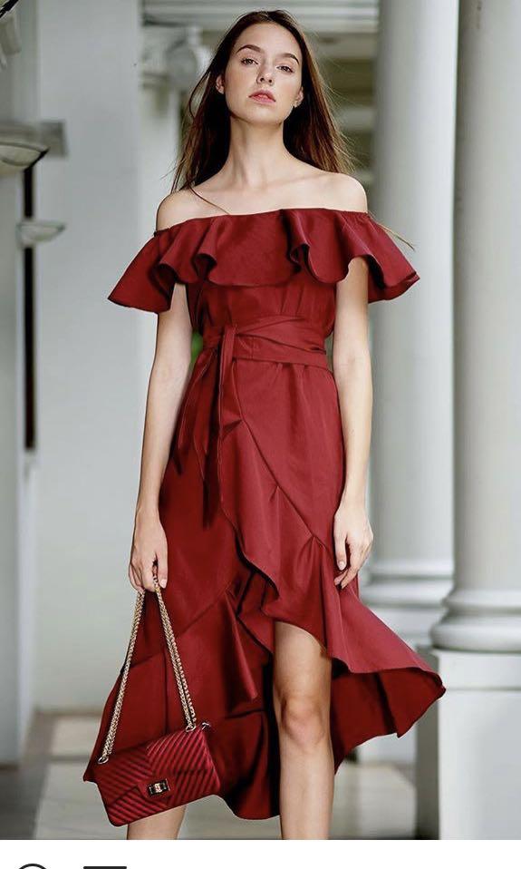 <NEW with TAG> TLC shop estil maroon dress