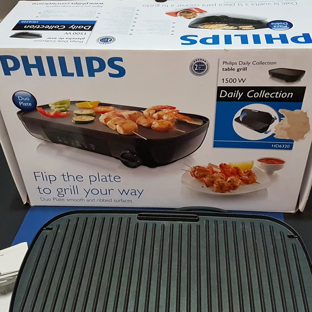 philips table grill hd6320 with duo plate ribbed smooth home