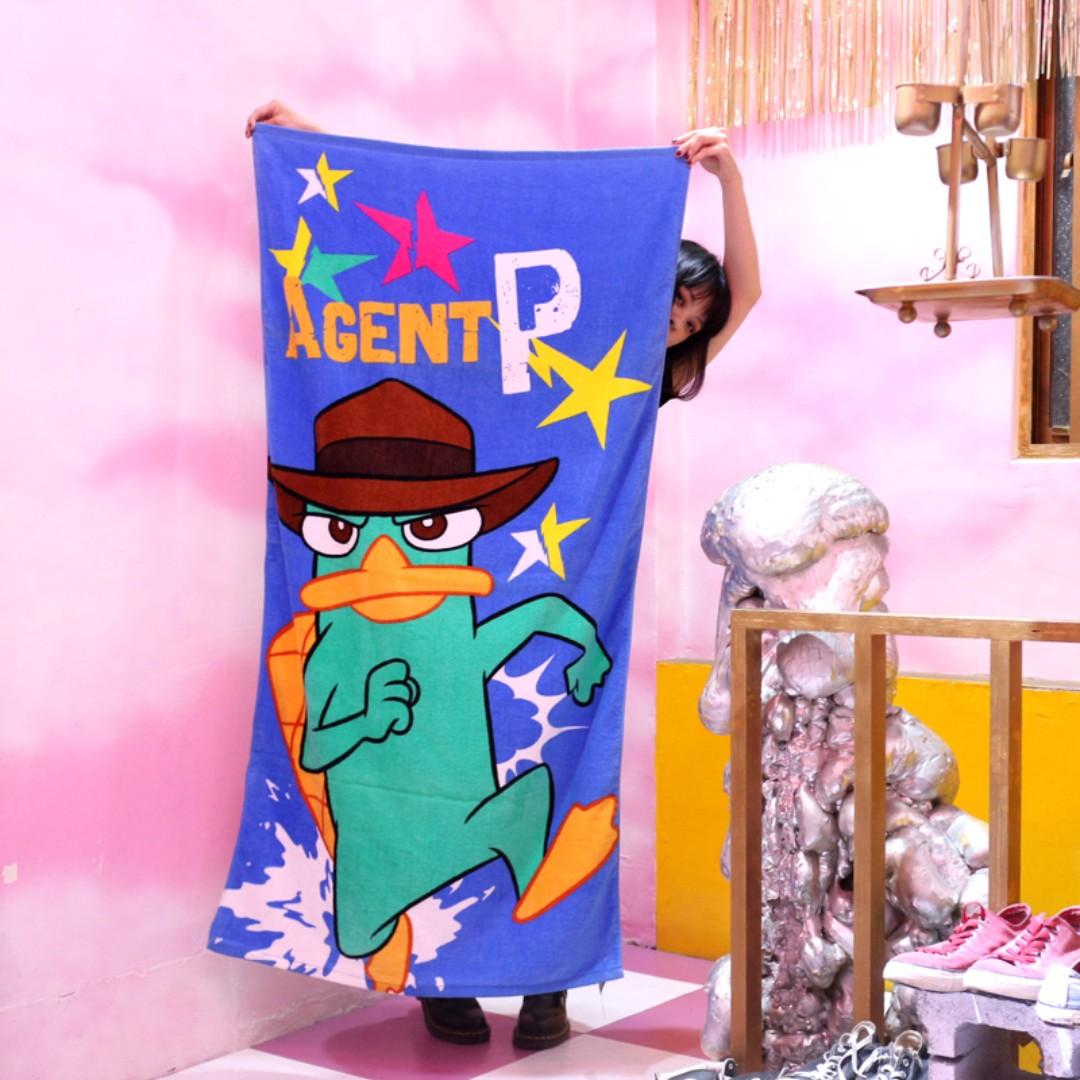「Phineas and Ferb Disney 迪士尼 飛哥與小佛 鴨嘴獸泰瑞 特務P 浴巾 80x150@公雞漢堡」
