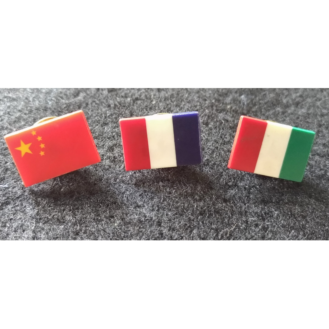 Pins of Different Flags China France Italy