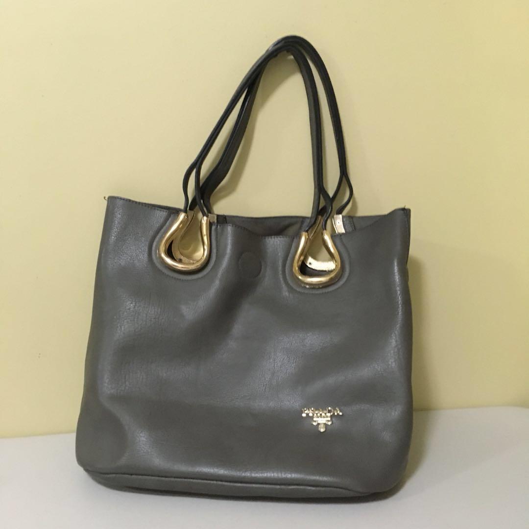 Prada Gray Shoulder Bag