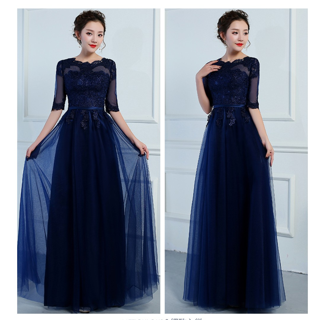 Pre order grey cream pink blue long sleeve off shoulder wedding bridal bridesmaid prom dress gown  RBBD0065