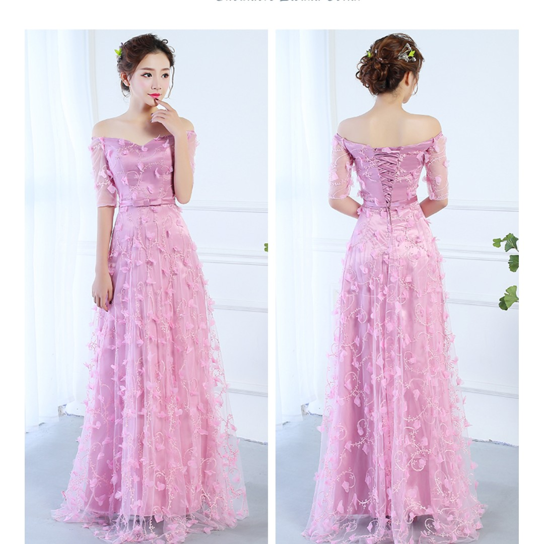 Pre order grey pink peach red long sleeve off shoulder wedding bridal bridesmaid prom dress gown  RBBD0063