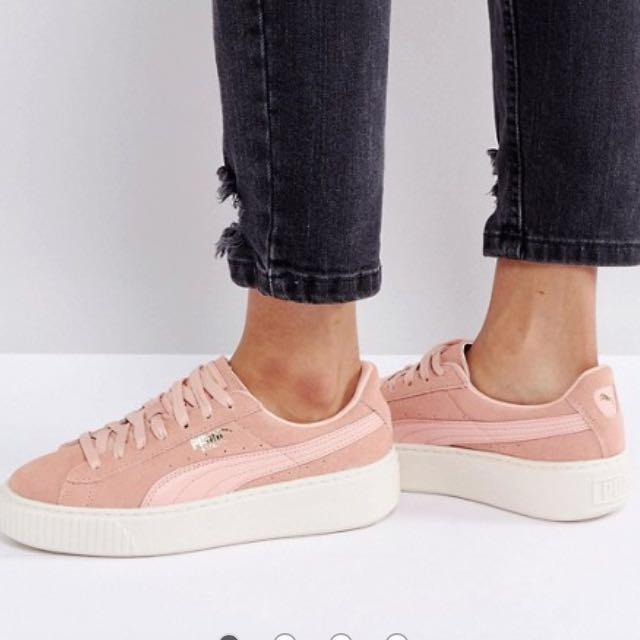 new style 01f0c cba60 PUMA suede pink mono satin platform, Women's Fashion, Shoes ...