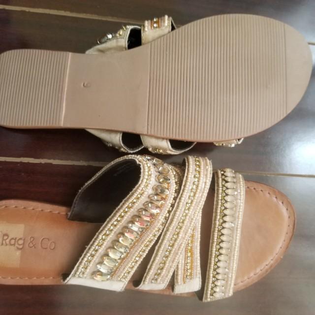 Rag & Co Beaded Leather Boho Toe Strap Sandals Tan Women's Size 9
