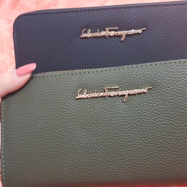 Salvatore Ferragamo long wallet in black or khaki