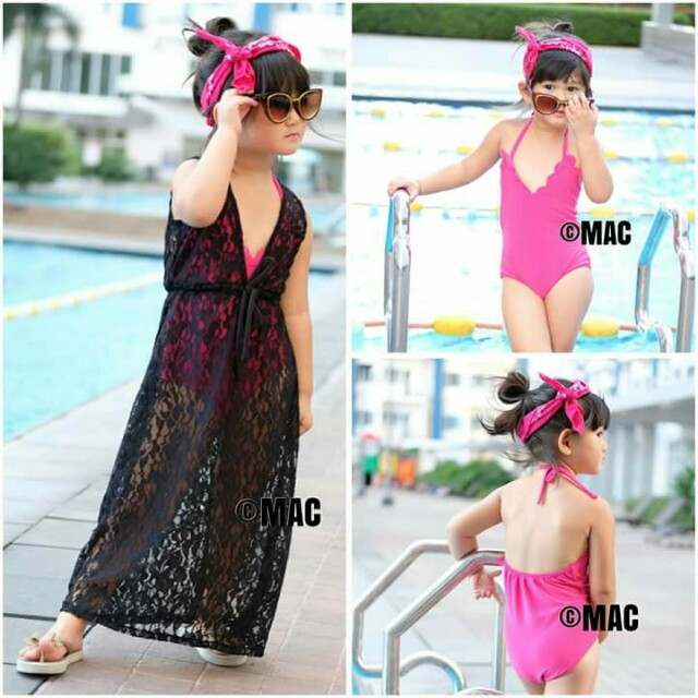 Scallop Swimsuit with Lace Cover Up