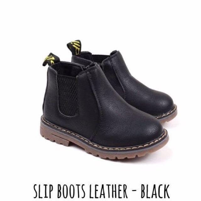 SLIP BOOTS LEATHER-Black