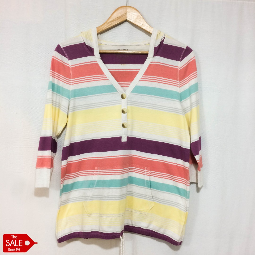 Sonoma Striped Hoodie Top