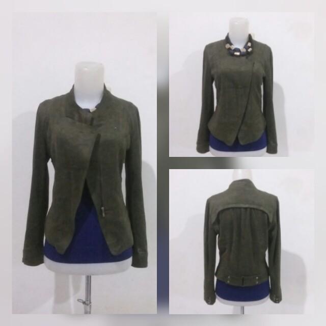 Suede Leather Olive Jacket