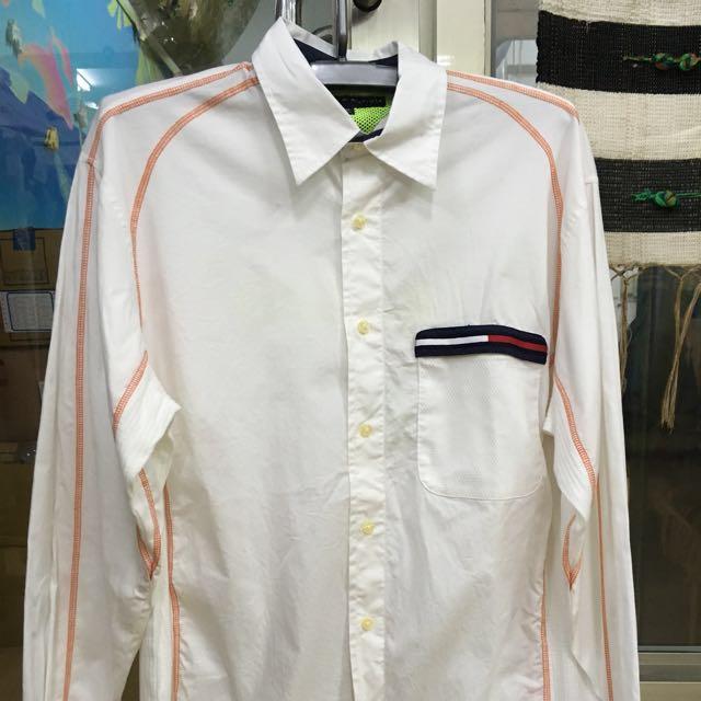 TOMMY HILFIGER 白色刺繡襯衫 台灣製