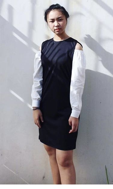 Two tone dress black and white
