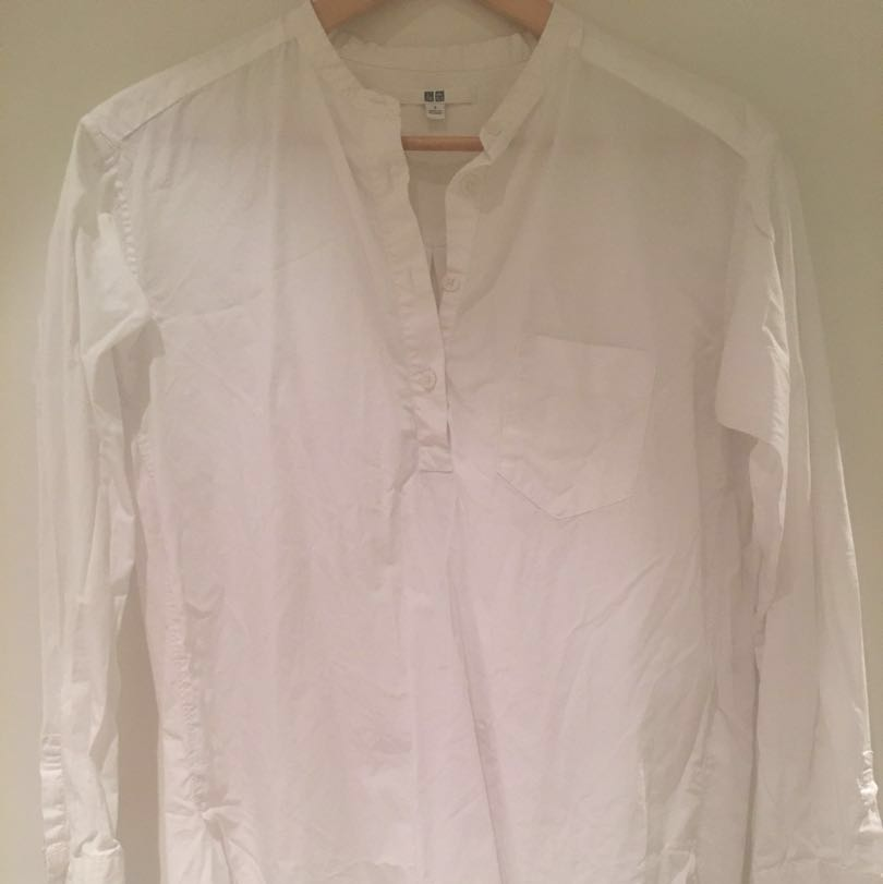 Uniqlo oversized white round collar shirt