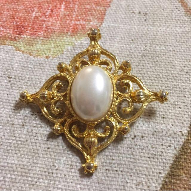 現貨美國二手Vintage菱形珍珠胸針/別針
