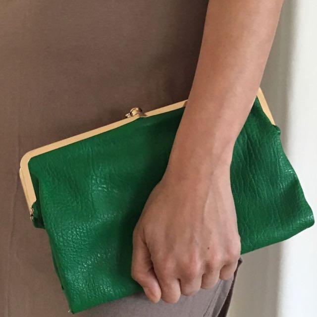 現貨美國二手Vintage 雙開復古綠手拿包