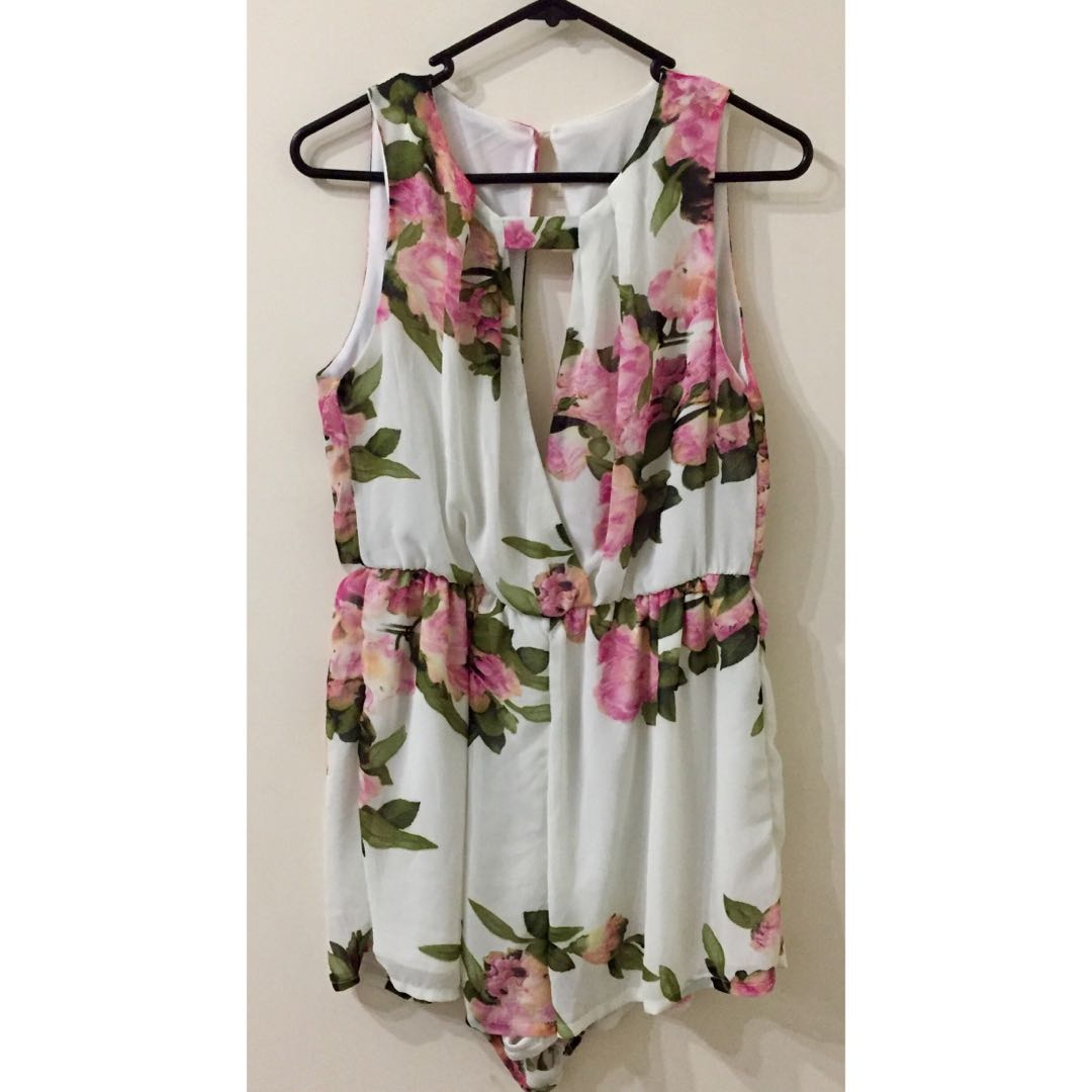 White and Pink Floral Jumpsuit