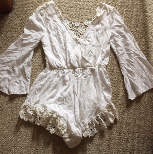 White bell sleeve lace detail playsuit