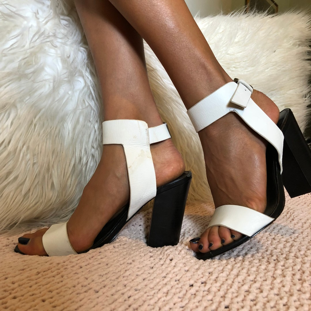 White leather heels size 39