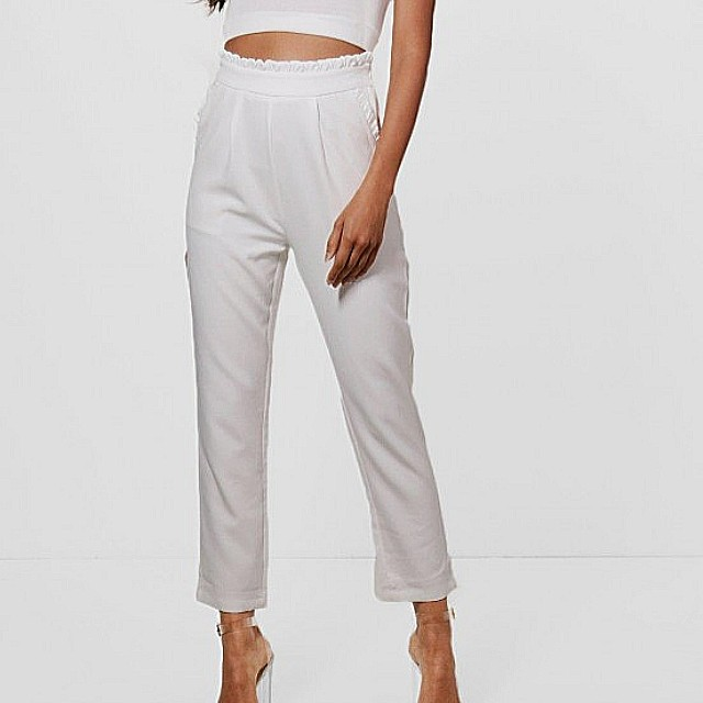 White ruffle trousers (includes postage)