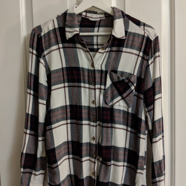 Women's Garage White and Red Plaid Flannel