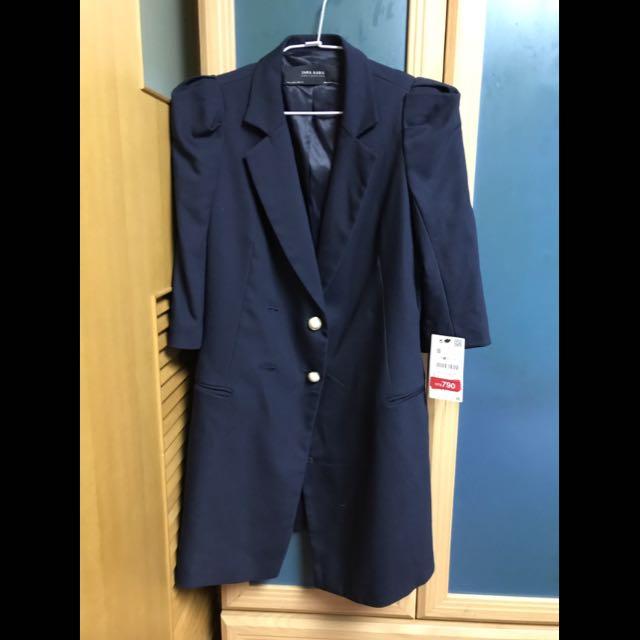 Zara深藍珍珠釦長版西裝外套
