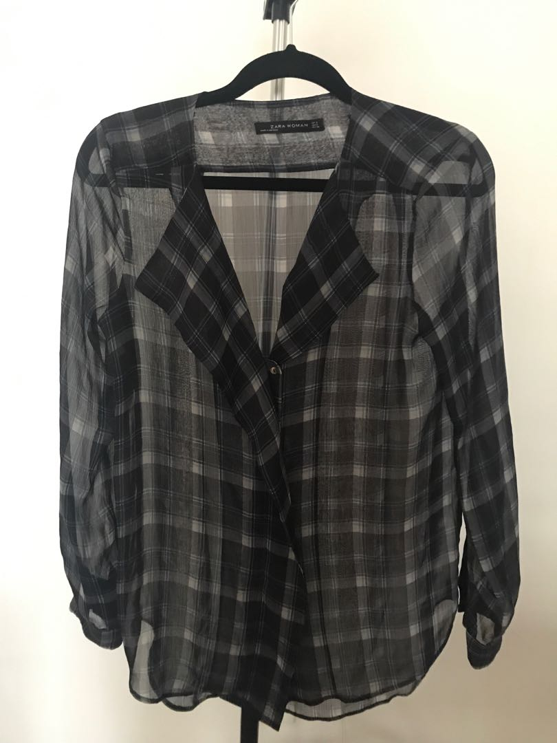 Zara Blouse - Sheer/Patterned - Blue - Size Small