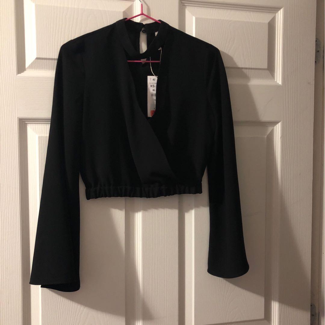 Zara Choker Bell Sleeve Cropped Shirt