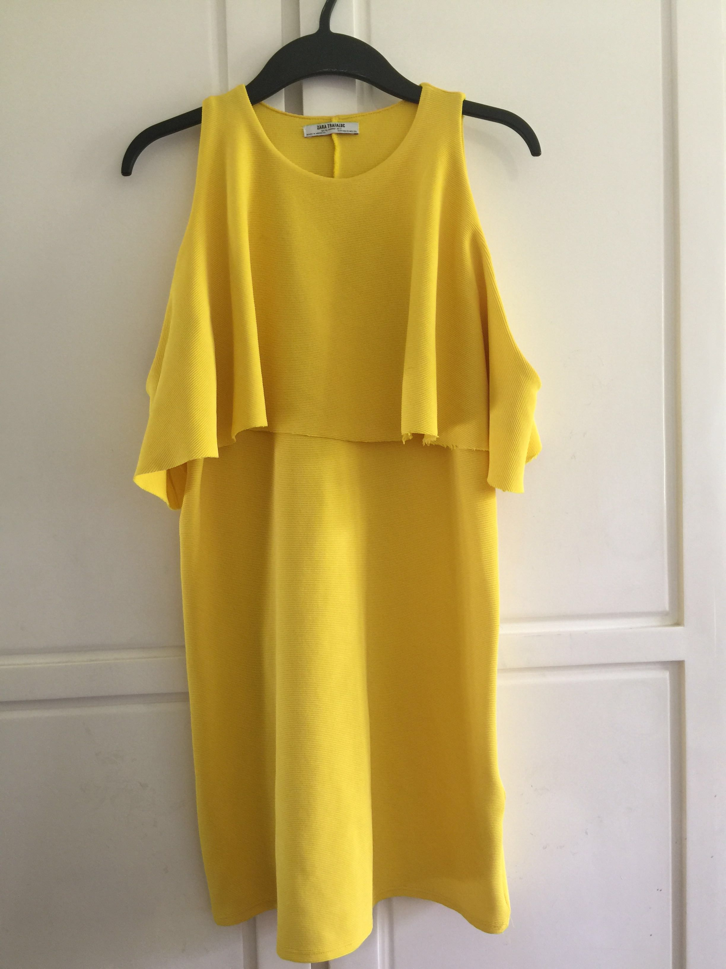 Zara Cold shoulder lemon dress