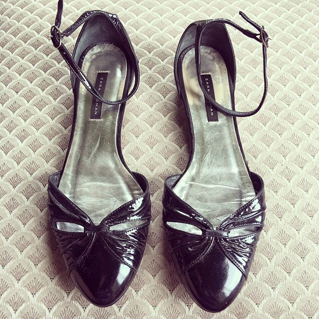 ZARA WOMAN D'ORSAY BLACK PATENT SHOES
