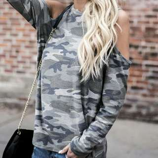 European's Women Camouflage Long Sleeves Shirt