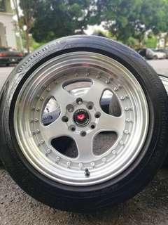 Rotiform 15 inch sports rim alza tyre 70%. Lepak parit lastik katak, kalau nak pos pon boleh kita balut dalam kotak!!!