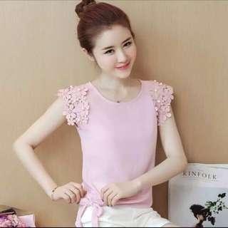 🔥Instock - size 2XL-2018 Summer new super-lace temperament little sleeve chiffon shirt