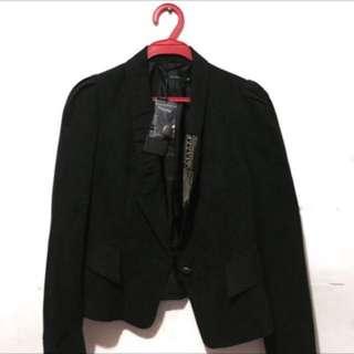 全新 Theme 黑色絨布西裝外套 帥氣風 時尚 氣勢女孩 附鈕扣 #超取再七折